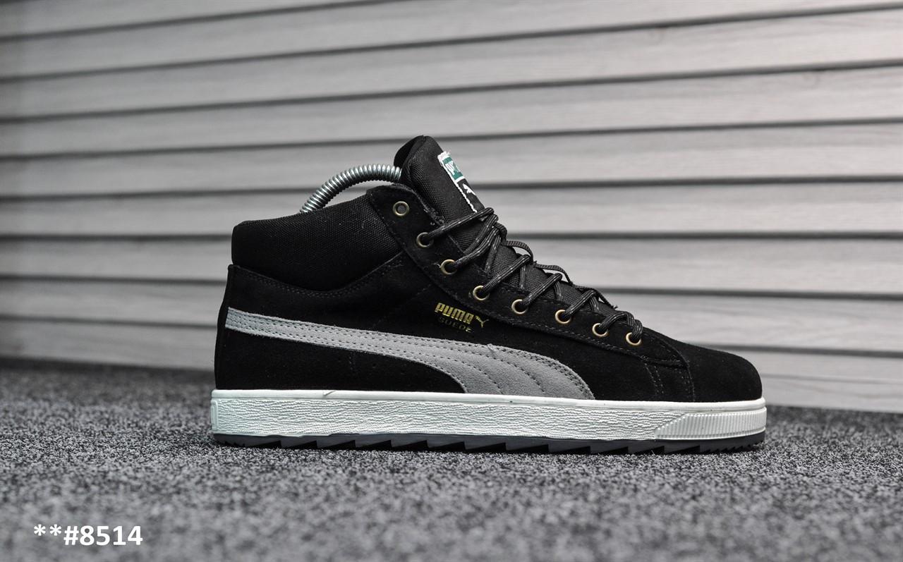 ab83169e3c63 Зимние мужские кроссовки Puma Suede Black White, Реплика   продажа ...