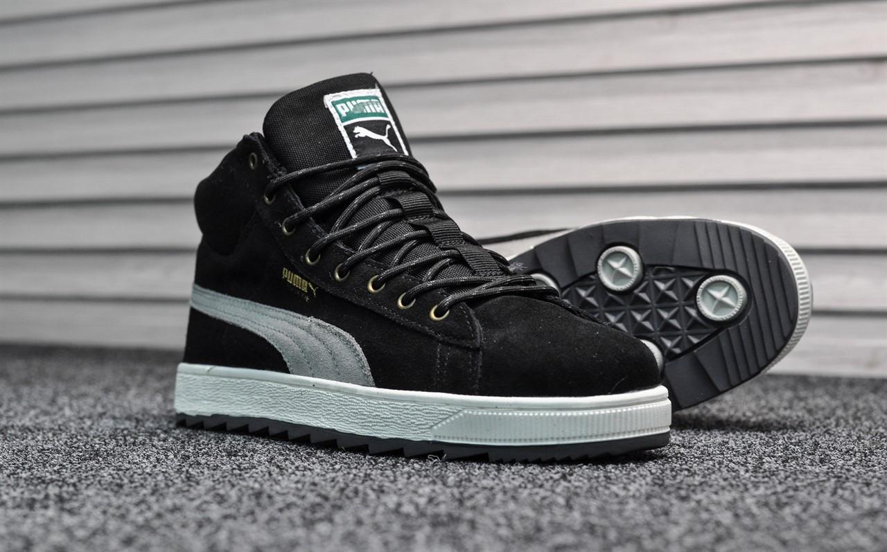 923e8f9b14199a Зимние мужские кроссовки Puma Suede Black White, Реплика : продажа ...