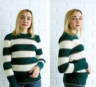 """Женский свитер """"Полоски"""", изумруд, фото 1"""