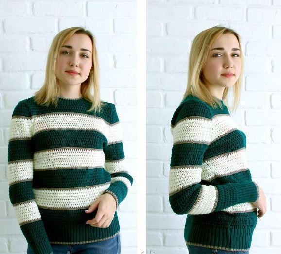 """Жіночий светр """"Смужки"""", смарагд"""