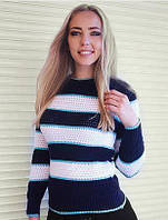 "Женский свитер ""Полоски"", темно-синий, фото 1"