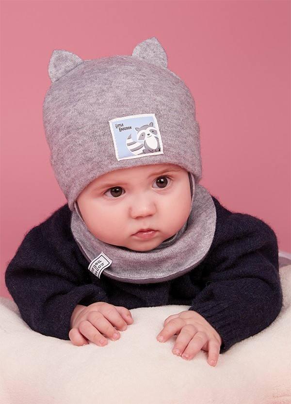 Детская зимняя шапка (набор) для малышей ЧИРО оптом размер 42-44-46