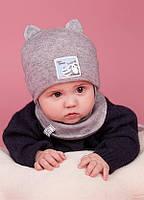 Детская зимняя шапка (набор) для малышей ЧИРО оптом размер 42-44-46, фото 1