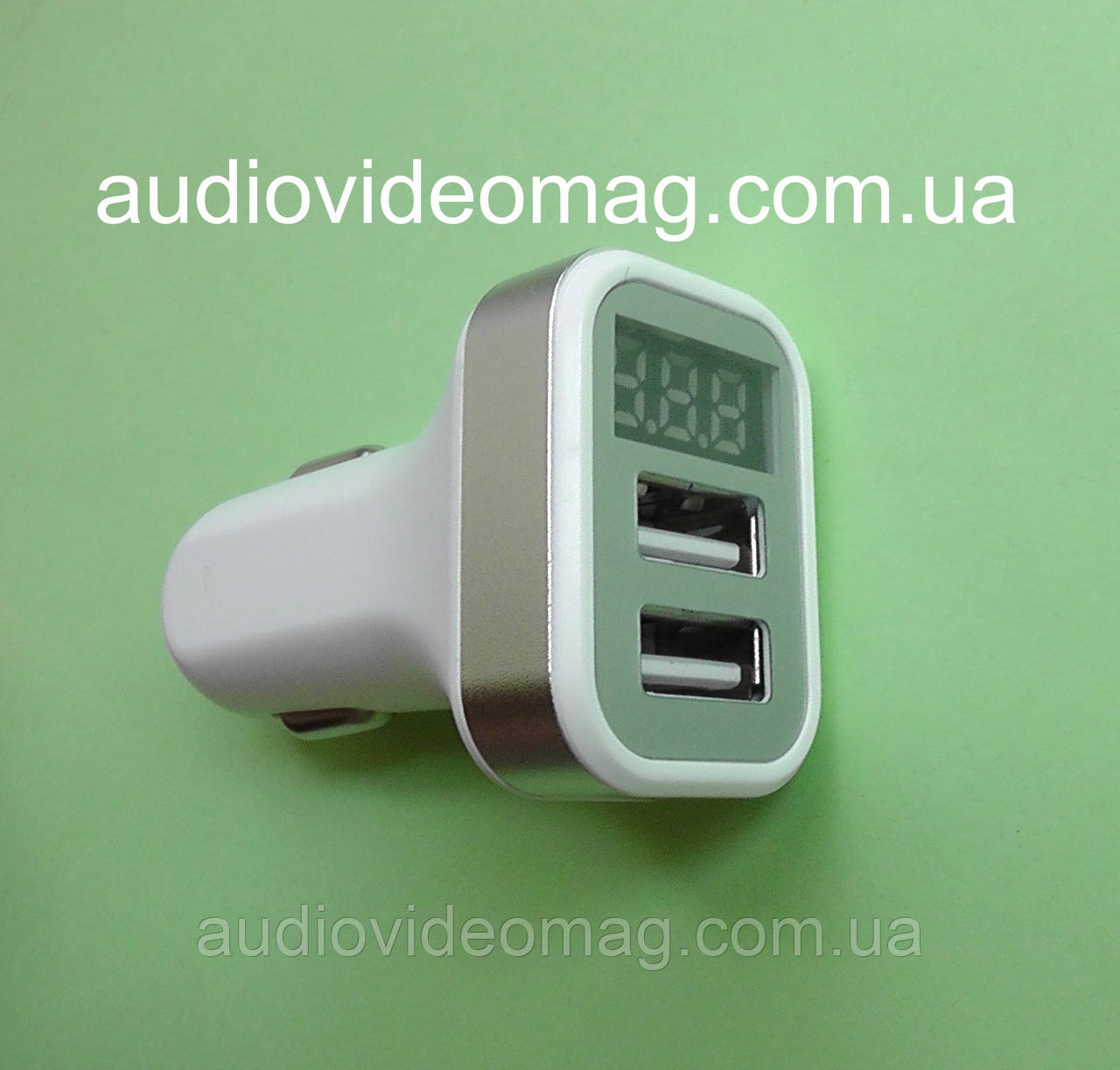 Автомобільний зарядний пристрій USB 5V 2,1 A два гнізда, з вольт-амперметром