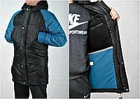 Зимняя курточка черно-синяя размер только XS-S