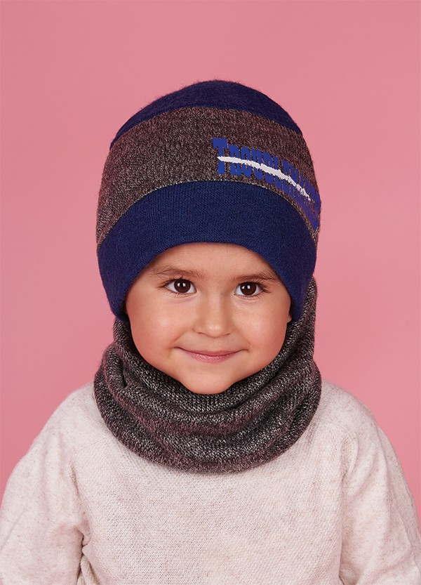 Детская зимняя шапка (набор) для мальчиков БУНГО оптом размер 46-48-50