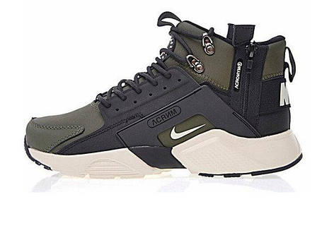 "Мужские кроссовки Nike Huarache X Acronym City MID Leather ""Haki/Black"", фото 2"