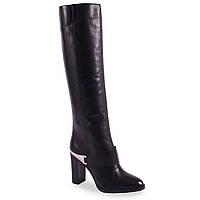 Элегантные женские сапоги Basconi (кожаные, зимние, черные, на каблуке, есть замок)
