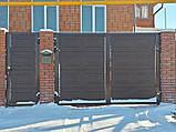Распашные ворота 4000х2000 заполнение сэндвич-панелью , фото 7