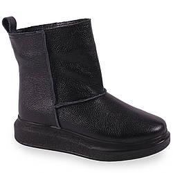 Стильные женские ботинки ( кожаные, зиминые, черные, на удобной толстой подошве)