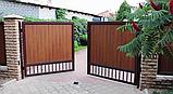 Розпашні ворота Алютех 5000х2500 заповнення сендвіч-панелями, фото 7