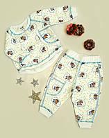 Пижама детская малютка, принт барашик, на байке, размер 1 год, белый, фото 1