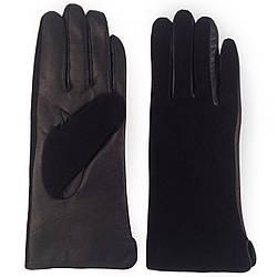 Женские перчатки ( черные, кожа+замш, зимние, на флисе