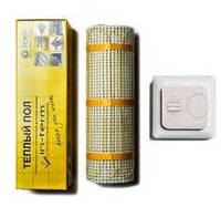 In-Therm 550 Вт (2,7 м2) теплый пол, тонкий мат под плитку без стяжки с терморегулятором
