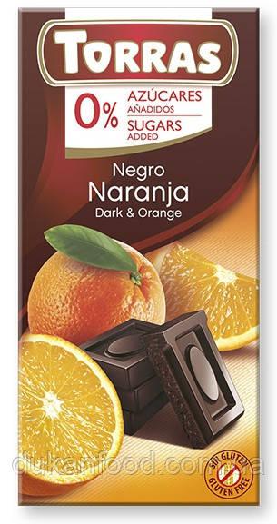 Torras Черный шоколад с АПЕЛЬСИНОМ без сахара