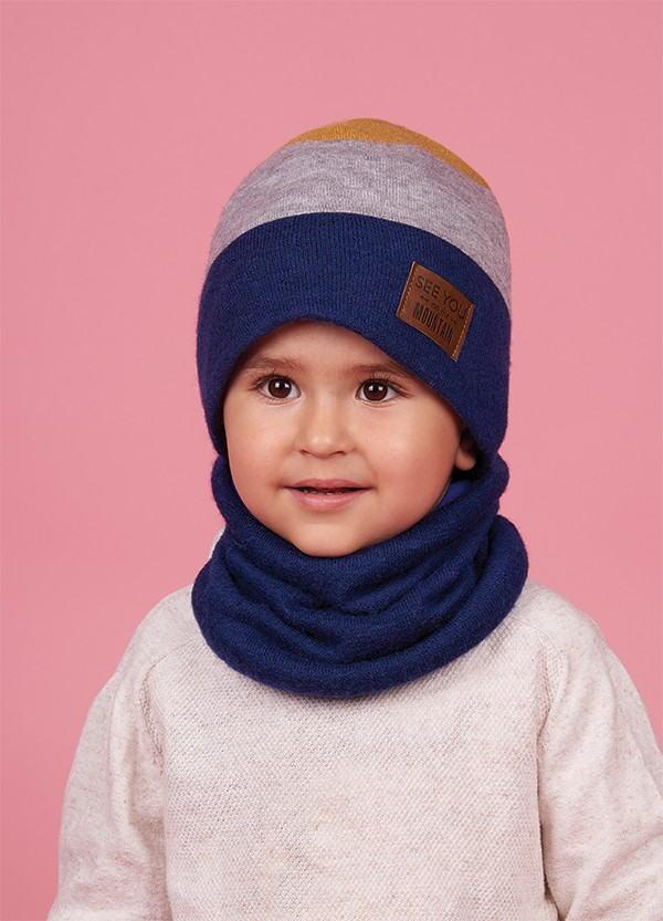 Детская зимняя шапка (набор) для мальчиков ЮСУО  оптом размер 46-48-50