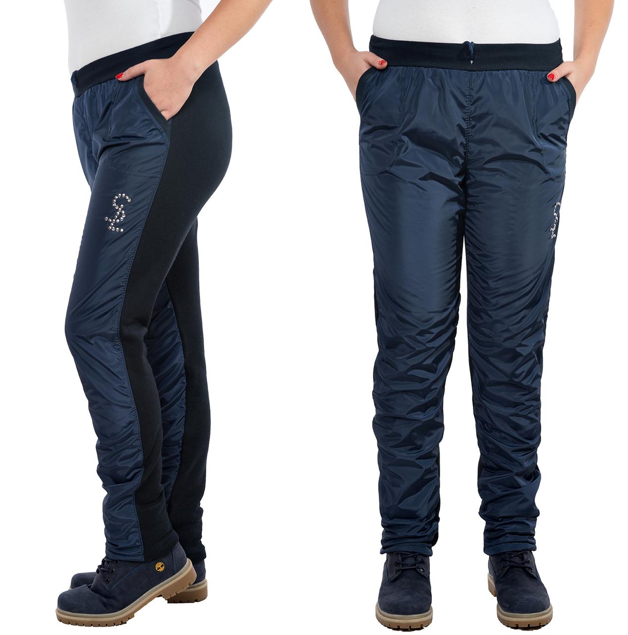 42be31cc Утепленные брюки женские на флисе (плащевка) зимние прямые, темно синие