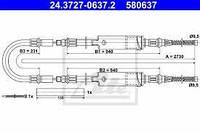 Трос стояночного тормоза (с двускатными колесами) Ford Transit 1994-2000 ATE 24.3727-0637
