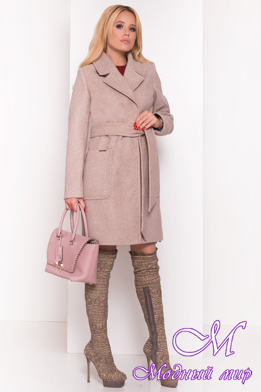 Женское демисезонное пальто бежевого цвета (р. S, M, L) арт. Мила 5391 - 36616
