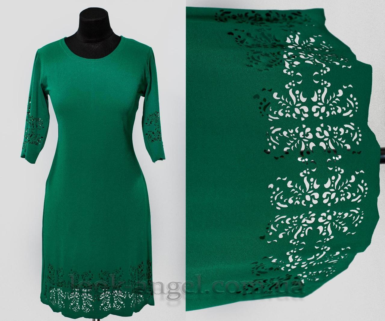 "Платье с перфорацией цвет бутылка ""Креп-Дайвинг"" 50, 52, 54, 56 размер батал"