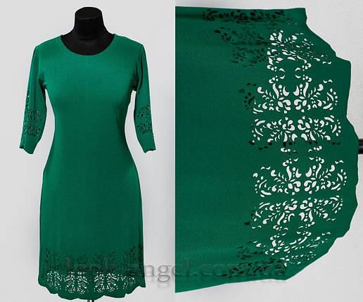 """Платье с перфорацией цвет бутылка """"Креп-Дайвинг"""" 50, 52, 54, 56 размер батал, фото 2"""