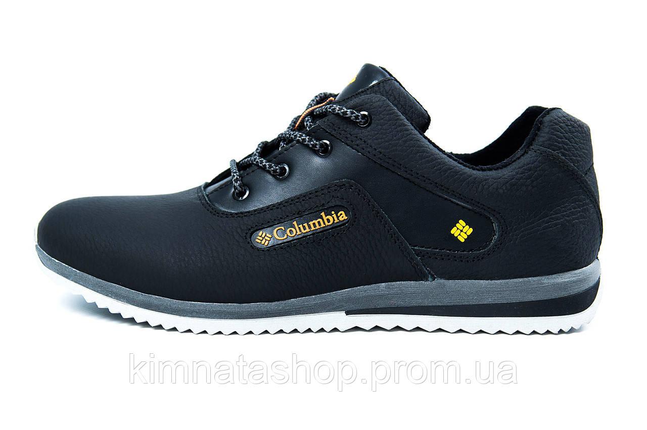 462dc2b317973a Мужские кожаные кроссовки Columbia Anser (реплика) черные с желтым -  Kimnata Shop в Киеве
