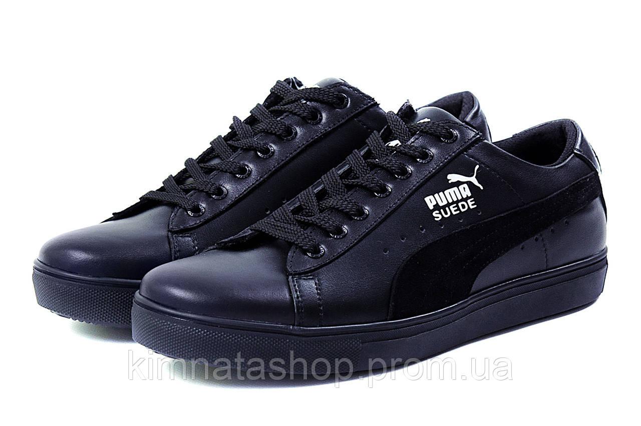 804ce93b Мужские Кожаные Кеды Puma SUEDE Black Leather (реплика) — в ...