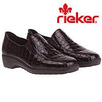 Туфли Rieker (лаковые фактурная кожа, удобные, офисные, черные)