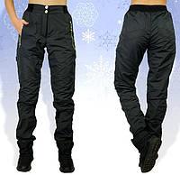 Зимние штаны плащевка, теплые брюки женские на флисе, черные