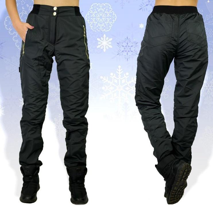 9b0dbdd3 Зимние штаны плащевка, теплые брюки женские на флисе, черные - Интернет  магазин Sport-