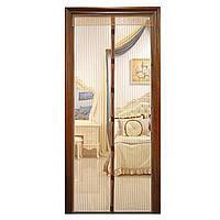 Антимоскитная сетка штора на магнитах Magic Mesh на двери 210х100 см. коричневый