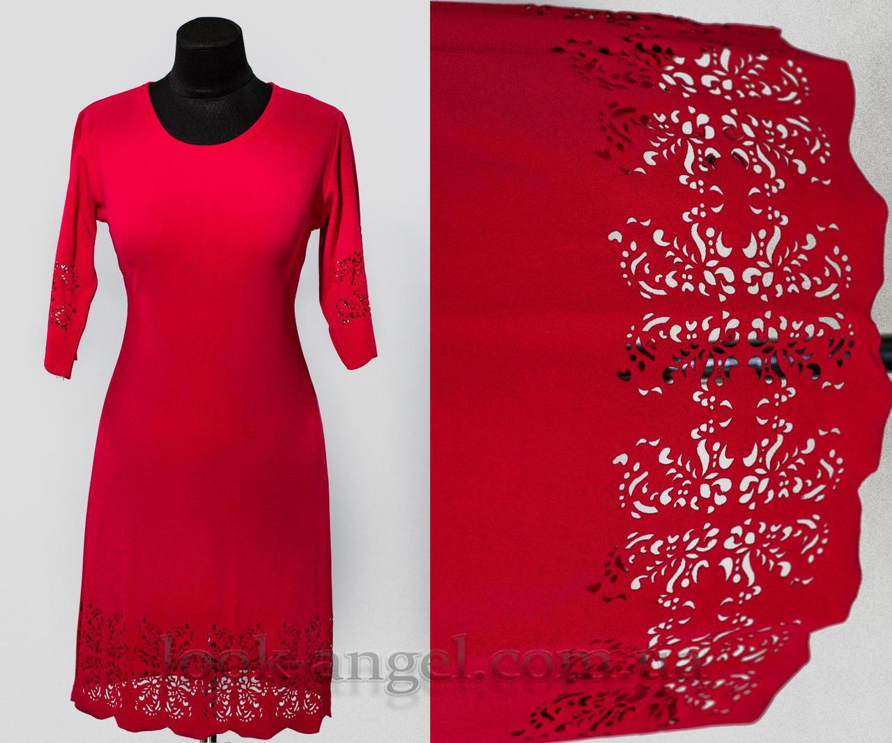 """Платье с перфорацией цвет красный """"Креп-Дайвинг"""" 50 размер батал"""
