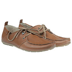Модные и удобные мужские мокасины от Zeus (на шнурках, коричневого цвета, с перфорацией)