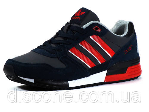 Кроссовки Adidas ZX900 мужские комбинированные темно-синие/ замшевые вставки/ красные вставки