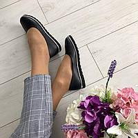 Комфортные женские туфли балетки кожа черные в.30КЕ34-2ч