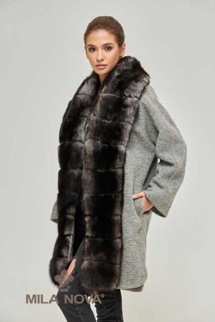Зимнее женское пальто с натуральным мехом песца (разные цвета)