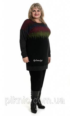 Туника платье Злата ангора 62-64, 66-68 больших размеров. Женская теплая туника батальная, батал. Синий, фото 2