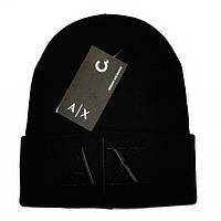 Модная мужская вязаная шапка Armani Exchange Black черная новинка 2018 качественная теплая Армани реплика