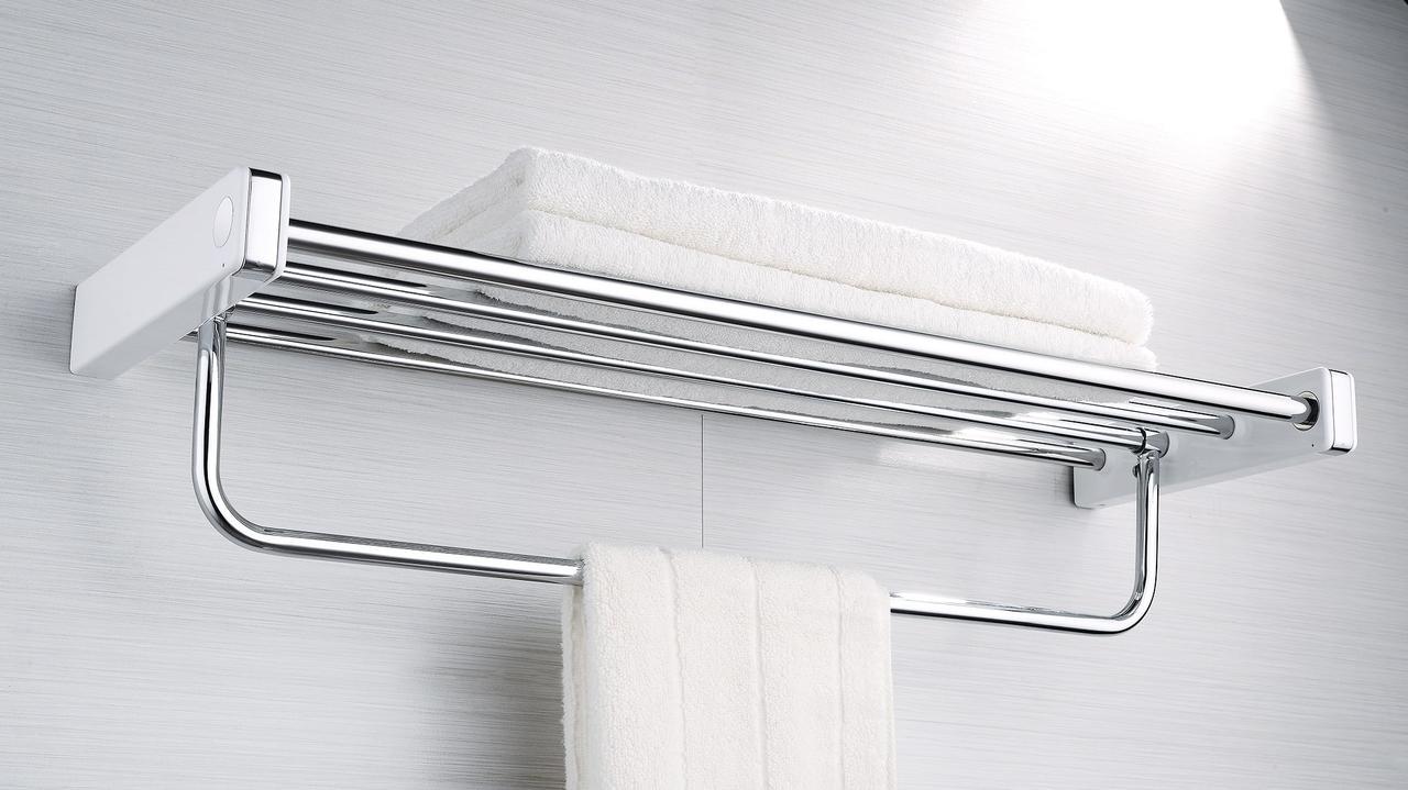Полка для полотенец Yacore Fab(ABS белый/нерж.сталь),F3012WC , фото 1