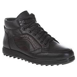 Ботинки мужские Stingray (зимние, на цигейке, на шнурках, черные, удобные)