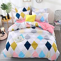 Комплект постельного белья  Разноцветные ромбы (двуспальный-евро)