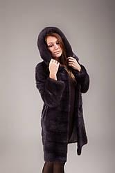 Шуба женская норковая (натуральная, с капюшоном, темно-серого цвета, изысканная, роскошная, элегантная)