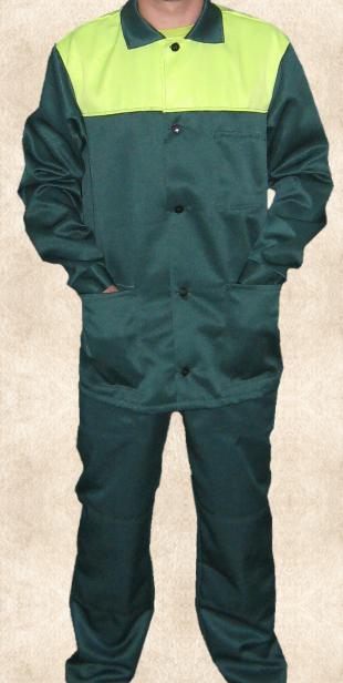 Рабочий костюм зеленого цвета с лимонной  кокеткой