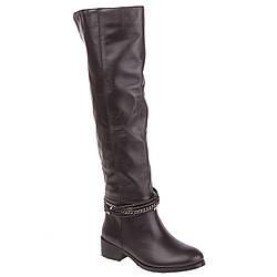 Ботфорты женские Monroe (черные, кожаные, удобные, практичные, с оригинальным декором)