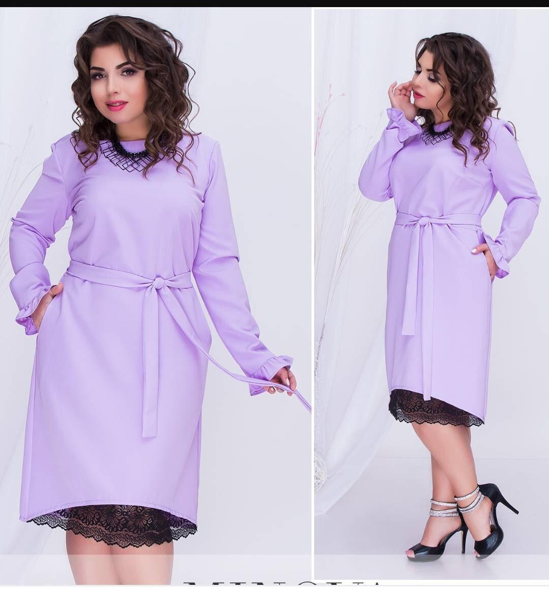 """Красивое женское платье ткань """"Костюмная"""" с кружевной вставкой по низу 48, 56 размер батал"""