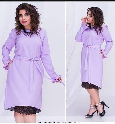 """Красивое женское платье ткань """"Костюмная"""" с кружевной вставкой по низу 48, 56 размер батал, фото 2"""