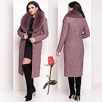 Женское зимнее пальто с шикарным мехом песца  М 4150  Капучино, фото 1