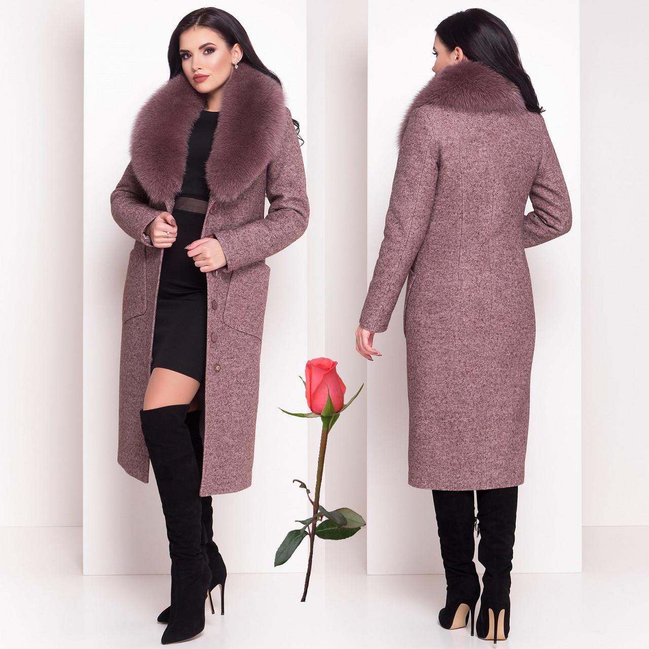 Женское зимнее пальто с шикарным мехом песца  М 4150  Капучино
