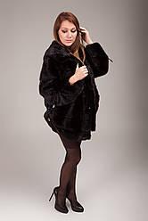 Шуба женская норковая (натуральная, с капюшоном, оригинальный дизайн, стильная, элегантная)