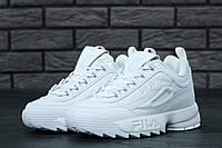 Кроссовки женские белые кожаные осенние Fila Disraptor 2 Фила Дисраптор 2